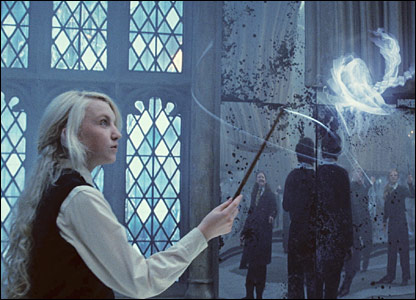 Luna practicing magic in Dumbledore's Army.