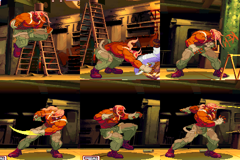 Various movements and attacks of Alex in Street Fighter III: 3rd Strike.