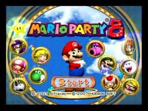 The game's title screen with the entire Mario Party gang!