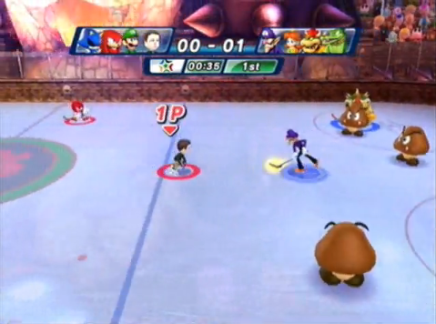 An event in the Wii version of Mario & Sonic at the Olympic Games, Dream Ice Hockey.