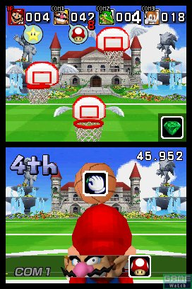 Mario is shooting basketballs in this Dream Basketball event.