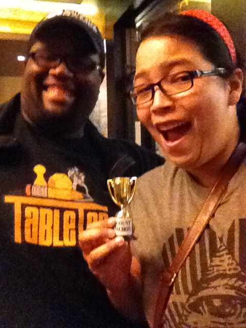 The Lead Game Designer for Discount Salmon, Marcus Ross! I got a trophy out of this! And a second chin apparently. :|