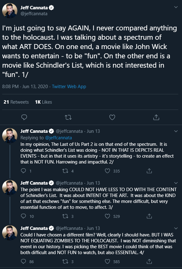 Jeff Cannata tried to clarify what he meant.