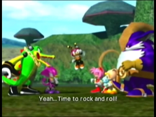 Vector as seen in Sonic Heroes with the rest of Team Chaotix.