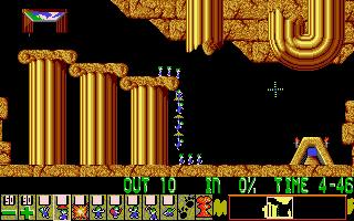 Several lemmings using the 'floater' skill.