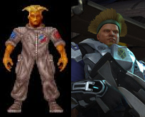 The flat-top hair-style from the original X-Com, compared to that of the new game.