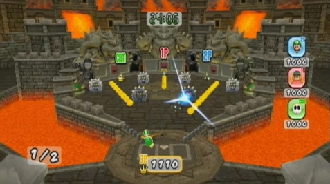 Bowser's Castle as seen in Mario Super Sluggers with the minigame Bowser Pinball.