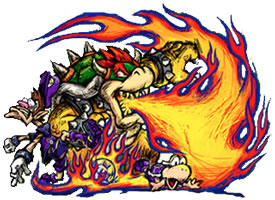 Bowser, the king of Koopas breathing fire!