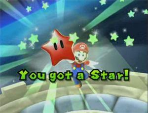 A Red Power Star in Super Mario Galaxy. You got a Star!