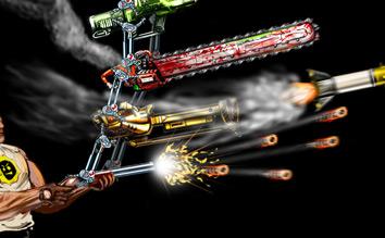 Sam shooting multiple guns at once using the gun stacking mechanic.