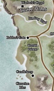 Baldur's Gate and the surrounding area in the Year of the Ageless One .