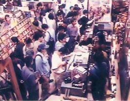 Fans gathering in Akihabara to purchase Sakura Taisen on launch day in 1996