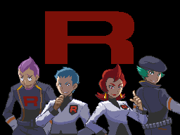 The Executives of the Team Rocket remnant: Petrel, Archer, Ariana, and Proton