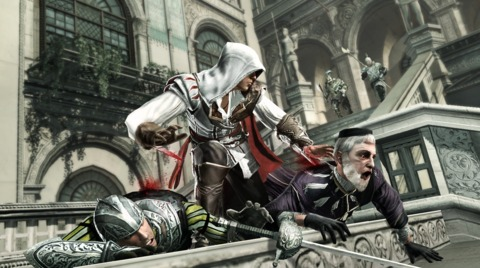 Altair is a figure of reverence, but Ezio could mop the floor with him.
