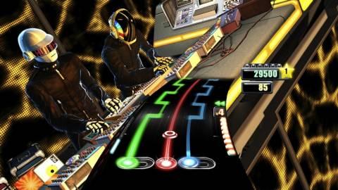 Gameplay in DJ Hero (with Daft Punk as playable DJs)