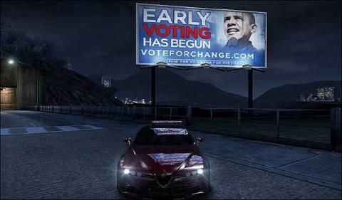 Obama ad in Burnout Paradise