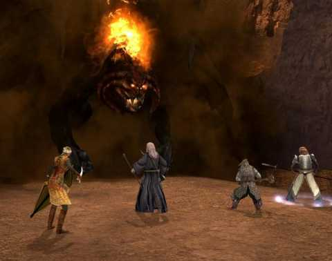 Berethor's company aiding Gandalf in his battle against the Balrog.
