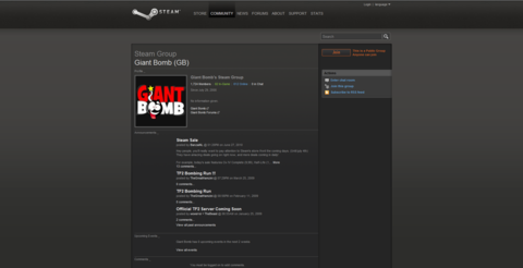 The unofficial Giant Bomb Steam group, as of the 2010 Steam UI redesign