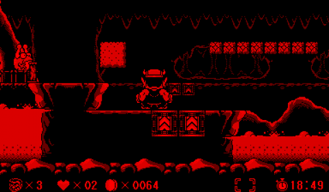 Wario on a jump pad leading to a background layer.