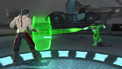 Green Lantern, seen here dropping the hammer on Liu Kang.