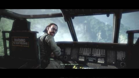 Pilot Flynn transports the squad in his Blackhawk Chopper