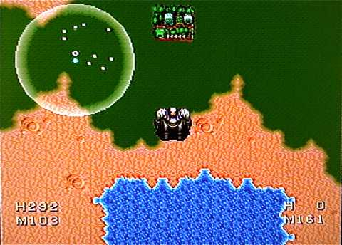 An enemy indicator on the overworld map in The 7th Saga.