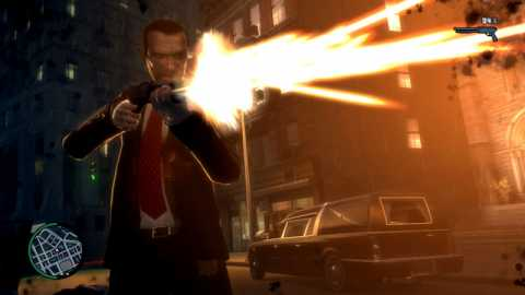 Here's that shot of a GTA protagonists firing at something off-camera you were looking for. Collect all 12!