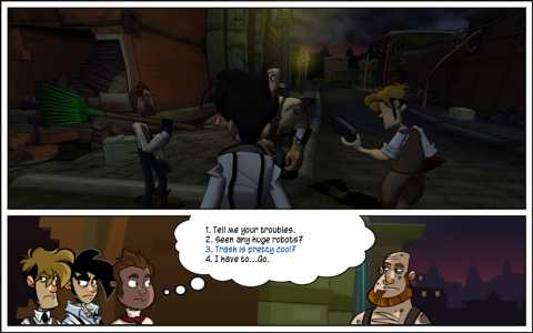 An example of the game's dialogue trees.