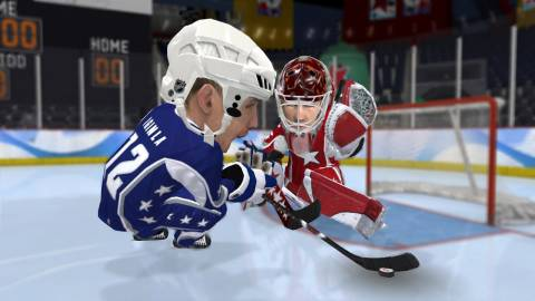 It's not a hockey sim, but the object is still to score goals on the other team.
