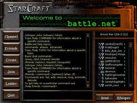 The original Battle.net interface for Starcraft