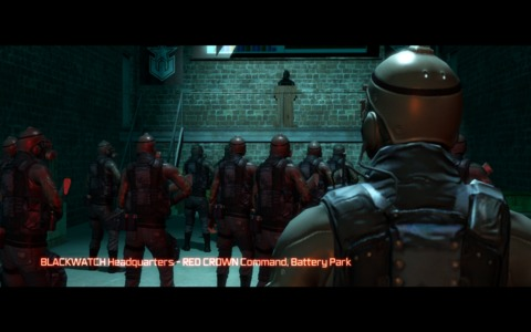 Blackwatch troops gather for a mission briefing.