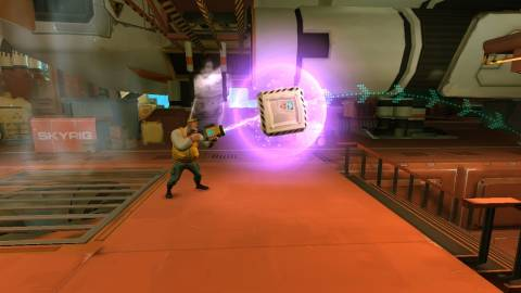 Rochard uses his gravity-based weaponry to solve a puzzle.