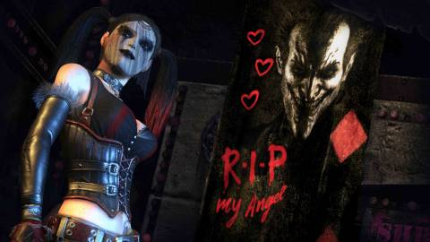 Harley in Harley Quinn's Revenge, with an outfit reflecting her state of mourning.