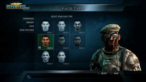 The menus give you a handful of options for customizing your commando (good guy) and mercenary (bad guy).