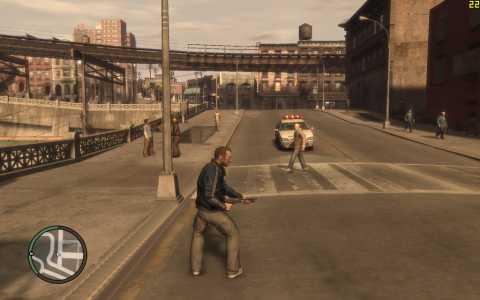 Niko brandishing a shotgun