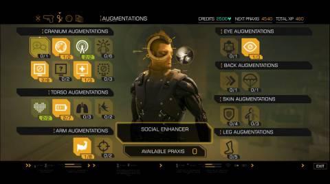 Augmentation menu