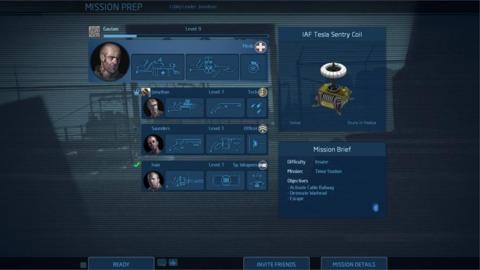 Team setup screen.