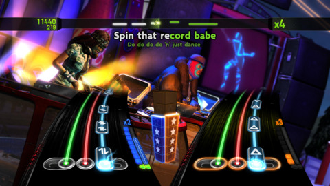 Multiplayer, featuring two DJs and a singer playing simultaneously.