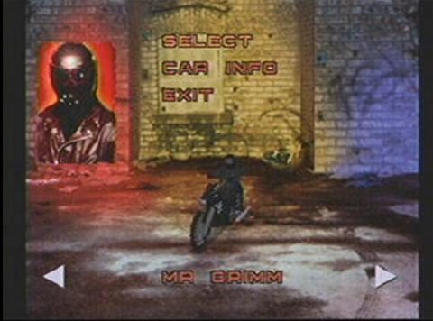 Mr. Grimm selection screen as seen in the original Twisted Metal.