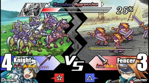 A typical battle in Yggdra Union.