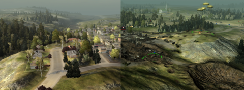 A comparison shot of a map before and after.