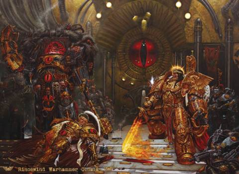 Horus and the Emperor meeting aboard The Vengeful Spirit