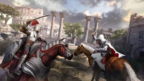 Ezio fighting a soldier on horseback!