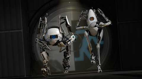 The co-op robots (left to right) ATLAS and P-body.
