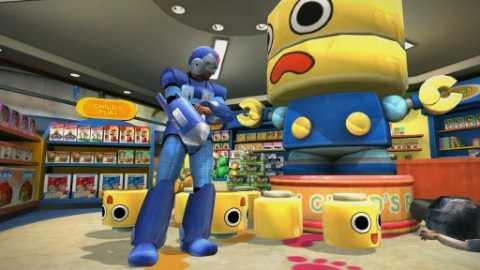 Frank West dressed as Mega Man