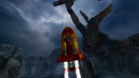 The crazy Viking is just one of many insane encounters in Hydro Thunder: Hurricane