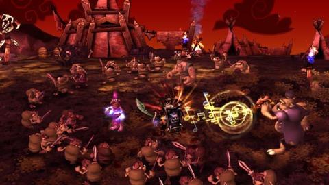 DeathSpank battles Sergeant Orque