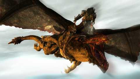 Rohn atop his dragon during a battle.