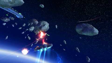 Space combat in an asteroid field.