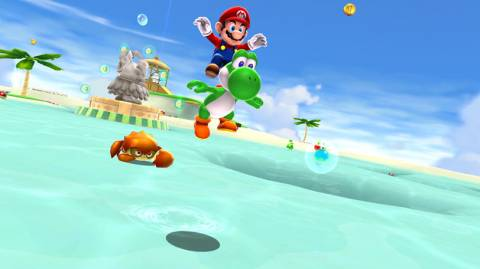 Mario and Yoshi jumping in World 4